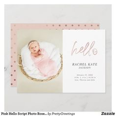 Pink Hello Script Photo Rose Gold Polka Dot Girly Unique Baby Announcement, Baby Girl Birth Announcement, Birth Announcement Photos, Baby Girl Photos, Gold Polka Dots, Paper Texture, Baby Girl Newborn, Script, New Baby Products