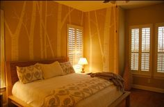 birch trees on bedroom wall. nice color