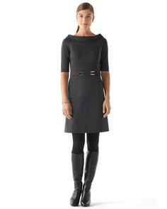"ROLLED COLLAR PONTE DRESS STYLE: 570089491 4.1/5 Cleanly tailored dress in ponté knit structures an all-business look, with a feminine, rolled collar and buckled set-in belt brightly defining the waist. Princess-seamed fit. Bateau necklline. Rhodium-finish buckle accents on set-in front belt. Concealed back zip. Our wrinkle-resistant ponté knit has a highly refined appearance. Sleek and smooth, it structures silhouettes with a supple drape.  Machine wash.Length: 36"" from shoulder."