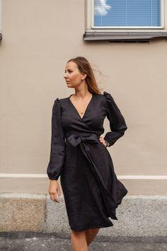 LINEN Long Sleeve Wrap Dress, black by PURA Finland. 100% linen. Made in Finland. Wrap Dress, Shirt Dress, Finland, Long Sleeve, Dress Black, Sleeves, How To Make, Shirts, Dresses