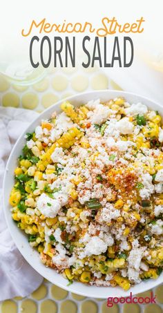 Mexican Street Corn Salad summer no bake simple grilling grill grilled queso fresco easy simple I Love Food, Good Food, Yummy Food, Tasty, Vegetarian Recipes, Cooking Recipes, Healthy Recipes, Fresh Corn Recipes, Mexican Salad Recipes