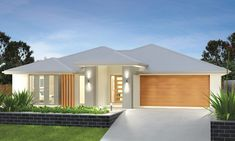 From 4 Bedrooms, 2 Bathrooms, 2 Car Garage. The Heydon has architecturally inspired angles that create a home with unique character purpose. Style At Home, Bungalow Haus Design, Beautiful House Plans, Facade House, House Facades, Contemporary House Plans, House Front Design, Storey Homes, Bedroom House Plans