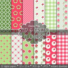 Roses digital paper: SPRING FLOWER PAPER red green by ClaireTALE