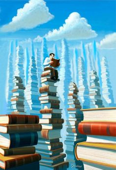 """Bookopolis,"""" an illustration by Eric Drooker for the November, 2006 issue of The New Yorker Magazine."""