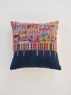 Look at this beautiful thing.  La Reina Handwoven Decorative Throw Pillow / Vintage Huipil / Guatemala