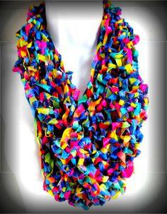 crochet ribbon scarf