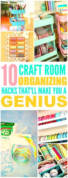 These 10 Clever Craft Room Organization Hacks are THE BEST! I'm so glad I found these AWESOME ideas! Now my craft room will look so good I'm definitely pinning for later!