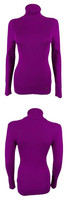 $26.97 - Lauren Ralph Lauren Womens Modal Blend Ribbed Turtleneck Sweater Purple XL #ralphlauren