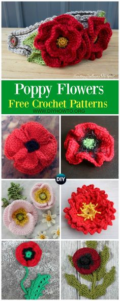 Free Pattern Crocheted Poppies 5 Different Versions Knitcrochet