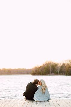 Sunset Engagement Photo Session || Lake || Dock || Blanket || Winter || Kiss || Memphis Engagement Photographer || Christen Jones Photography