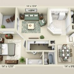 I thought this was a cool floor plan because it is really simple and everything looks like it in the right place. Some things I would probably add are a walk in wardrobe and a few balconies!