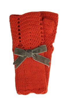 Crochet fingerless gloves orange and gray