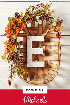 This project puts a different spin on a traditional wreath and incorporates pre-made décor pieces with personalized touches to pair with your home and personality. Fall Crafts, Holiday Crafts, Diy Crafts, Holiday Decor, Fall Halloween, Halloween Crafts, Fall Projects, Thanksgiving Decorations, Fall Decorations