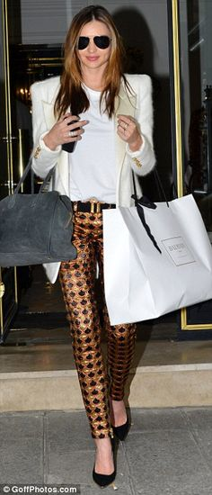 Miranda Kerr in Balmain cropped pants during Paris #fashionweek Spring 2014 collections