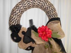 Black and Natural Chevron Burlap Wreath by AngelasAntics on Etsy, $45.00