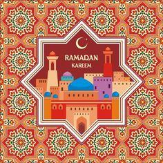 Ramadan pattern with greeting card vector 04 - WeLoveSoLo Ramadan Crafts, Ramadan Decorations, Vector Pattern, Pattern Art, Ramadan Photos, Eid Activities, Vektor Muster, Ramadan Greetings, Red Images