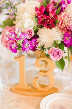 Beautiful handmade gold table numbers for a vintage chic wedding! | www.ZCreateDesign.com or ZCreateDesign on Etsy