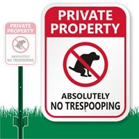 """No Trespooping! 12"""" x 9"""" LawnBoss Sign & Stake Kit  http://www.dogpoopsigns.com/DP/Funny-Dog-Poop-Signs.aspx"""