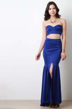 Asymetrical Tube Top And Maxi Mermaid Skirt Set