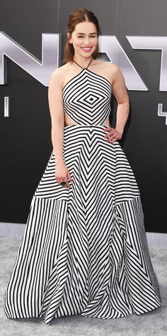 Emilia Clarke dialed up the drama at the Los Angeles premiere of Terminator Genisys in a Rosie Assoulin design with tight geometric lines, cut-out detailing, and a sculptural silhouette.