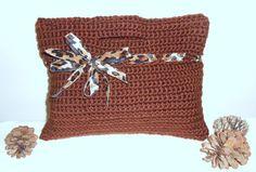 TOTE OF THE DAY! Crochet Tote - bag handbag tote crochet bag brown clutch evening bag - Safari Desert Sweet Little Handbag  Stop by my Kathy's Krochet Nook FB pg! ;)