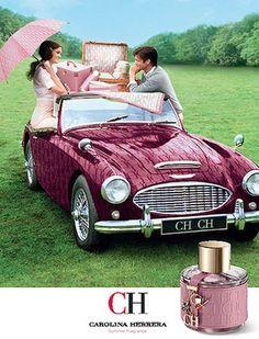 Carolina Herrera ad.  mini  convertible  car  purple Campanha Publicitária,  Perfumes 8e00332958