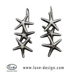 Triple Starfish Kidney Wire Earrings