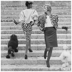 Iman & Jerry Hall by Norman Parkinson for 1982 French Vogue 80s Fashion, Fashion Shoot, Vintage Fashion, Fashion Mag, Vintage Style, Retro Vintage, High Fashion, Laetitia Casta, Natalia Vodianova
