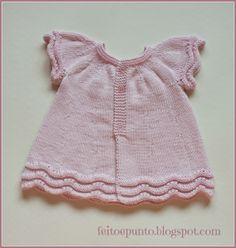 feito e punto: Cómo se hizo... el vestido de punto en algodón rosa
