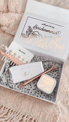 Bridesmaid Proposal Boxes printed in rose gold finish make a cute gift box to package your bridal party gifts in!