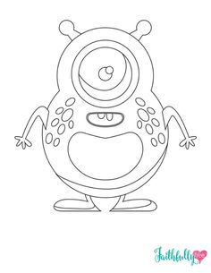 Adorable Monster Party Free Printable Coloring Sheet