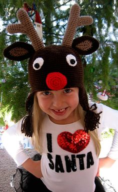 I love this maybe since well have a winter I could do this Half Double Crochet, Single Crochet, Crochet For Kids, Crochet Ideas, Filet Crochet, Knit Crochet, Beginning Crochet, Reindeer Hat, Crochet Christmas Hats