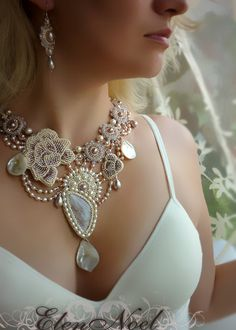 Necklace with moonstone and freshwater pearls. Necklace Bead Embroidery Art on Etsy, $489.00