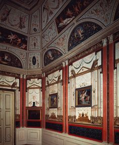 AKG-imágenes -Glimpse of the Cabinet of Love decorated in Pompeian style by Felice Giani (1758–1823), fresco, main floor, Palazzo Milzetti, Faenza, Emilia-Romagna.