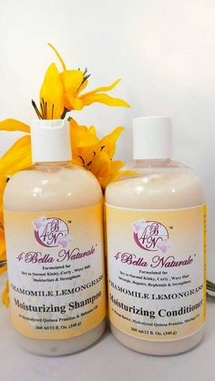 Moisturizing Natural Shampoo & Conditioner Set.  Chamomile /Lemongrass 12 oz by 4BellaNaturale on Etsy