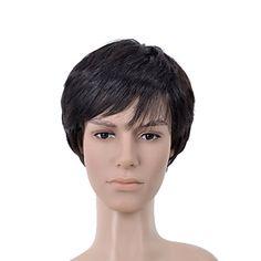 Short Straight Black Side Bang Men Hair Wig