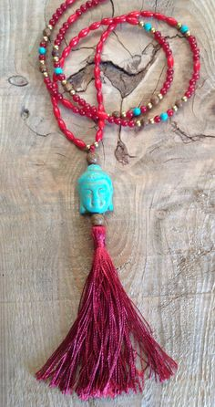Necklace Bohemian semiprecious beads, Buddha pearl tassel - Boho chic / bohemian