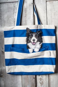 Hand painted bag with the Border Collie dog in the pocket. Handmade bag, personalized
