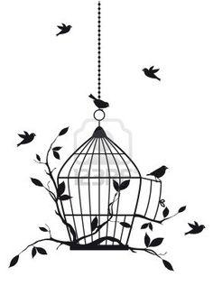 free birds with open birdcage