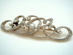 Antique Pearl and Diamond Platinum and Gold Edwardian Brooch