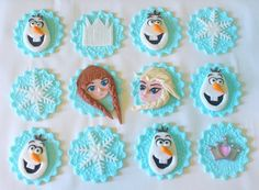 12 OLAF MIX FROZEN Inspired Edible Fondant Cupcake Toppers