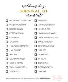 Free Wedding Day Survival Kit Checklist Bestweddingtips