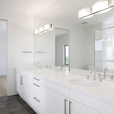 family bathroom - white gloss furniture, white walls, dark grey floor