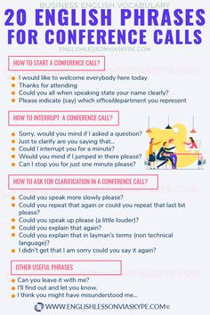 Conference call English vocabulary Business English Common Phrases is part of English vocabulary - Let's look at conference call English vocabulary Useful English phrases for attending a conference call in English Business English Vocabulary English Learning Spoken, Teaching English Grammar, English Vocabulary Words, English Phrases, Learn English Words, English Language Learning, English Study, Education English, Spanish Language