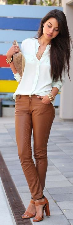Fall fashion   Mint blouse, brown pants, heels, clutch, accessories. women fashion outfit clothing style apparel @roressclothes closet ideas
