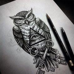 Tattoo flash by by flash_desen Owl Tattoo Drawings, Tatoo Art, Tattoo Sketches, Calf Tattoo, Leg Tattoos, Body Art Tattoos, Sleeve Tattoos, Sketch Tattoo Design, Owl Tattoo Design