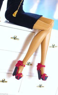 dollsalive fashion royalty JEM ,COLOR INFUSION fucshia leather shoes