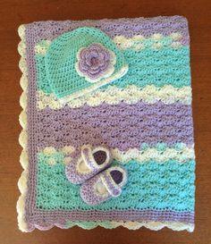 Crochet Baby Girl Gift Set blanketbeanie hat & by ThatAnneLady, $40.00