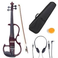 Amazon.com: Cecilio 4/4 CEVN-2NA Solid Wood Mahogany Metallic Electric / Silent Violin with Ebony Fittings in Style 2 (Full Size): Musical Instruments