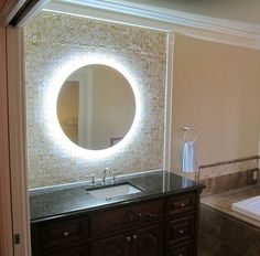 Round Bathroom Mirror With Illuminated Background